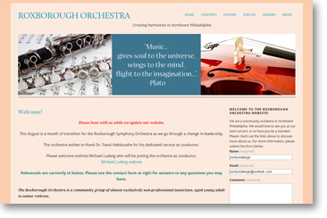 RoxboroughORchestra website